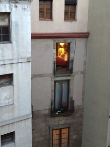 Peeking at another building from our apartment